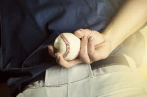 Baseball pitcher ready to throw ball